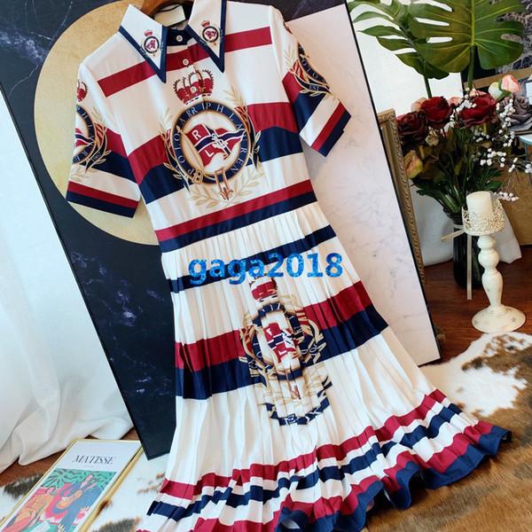 women girl shirt dress striped letter print lapel neck short sleeve a-line pleated trumpet midi skirt high end fashion luxury runway dresses