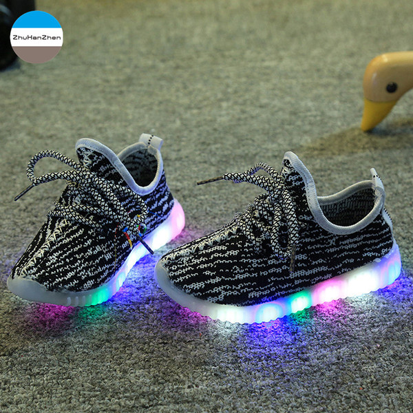 2019 1 To 5 Years Old LED Lights Baby Girls And Boys Glowing Sport Shoes Soft Non-Slip Bottom Children Sneakers Casual Shoes