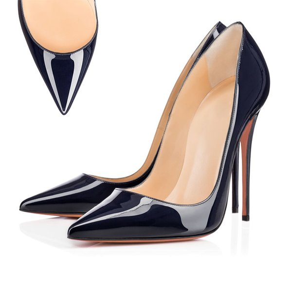 Pointed Toe leather Dark Navy