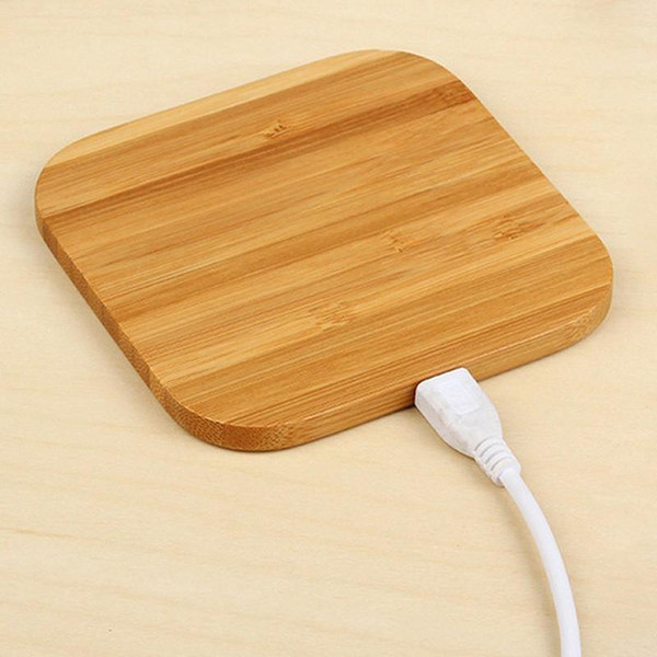 Hot Sale Bamboo Wood Wooden Qi Wireless Charger Pad Fast Charging Dock With USB Cable Phone Charging Tablet Charging For iPhone XS MAX XR 8