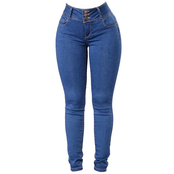 Wipalo Women Classic Slimming Butt Lift Stretch Skinny Denim Jeans Elastic Casual Denim Blue Ladies Trousers Solid Pencil Pants