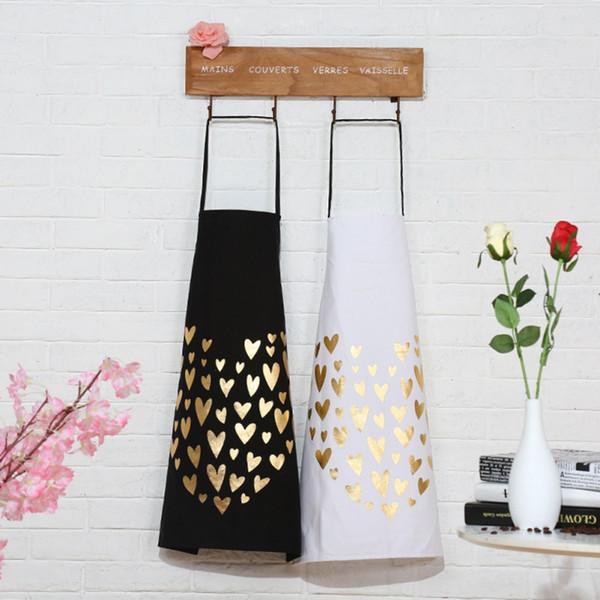 Patrón de amor bronceador delantal de algodón Baberos para adultos Cocina en casa Hornear Cafetería Limpieza Delantales Accesorios de cocina