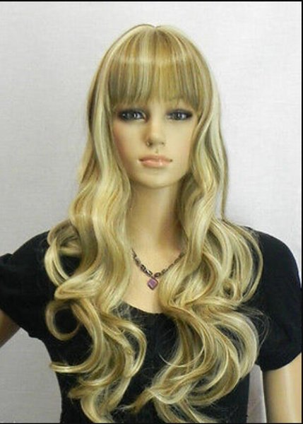"""WIG free shipping NEW WOMEN""""S blonde brown LONG curly Cosplay FULL WIGplay Wig"""