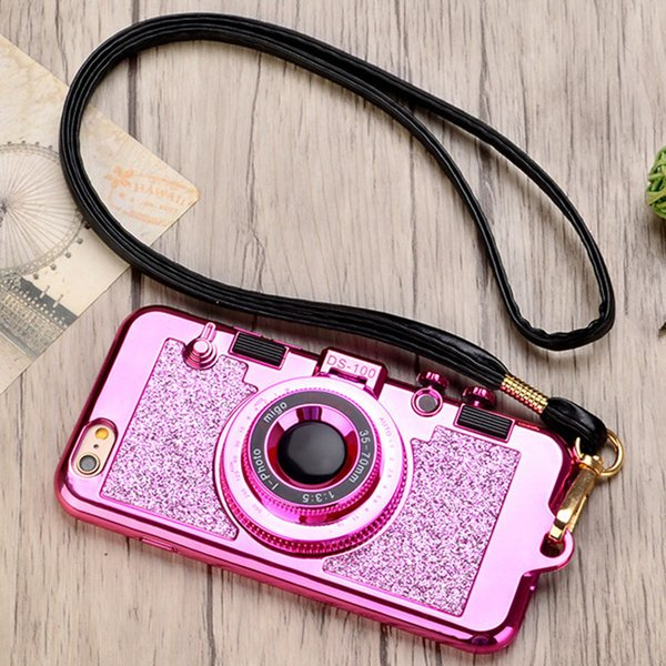 Hot selling Shining 3D Camera Bling Phone Cases with makeup Mirror for iPhone XS Max XR X 7 8 Plus 6 6s plus