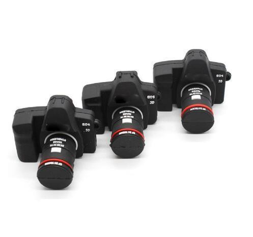 3D 8 GB Kauçuk Yumuşak Pvc Mini SLR Kamera Şekil USB Bellek Flash Sürücü Ucuz USB Flash Disk 1 GB 2 GB 4 GB 16 GB 32 GB