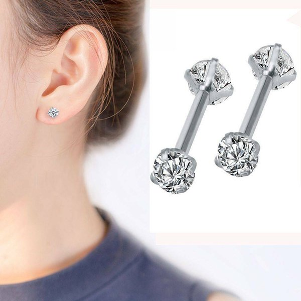 2PCS Surgical 316L Stainless Steel Stud Earrings Cubic Zircon Round Earings for Men Women Round With White Diamond Crystal Stud Earrings
