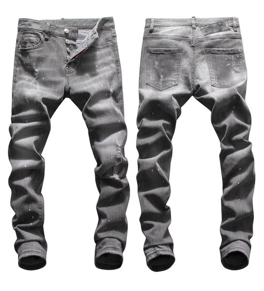 Tops Mens Ripped Lavé Designer Jeans Gris Mode Slim Fit taille basse Biker Denim Pantalons Hip Hop Pantalons NJ8042