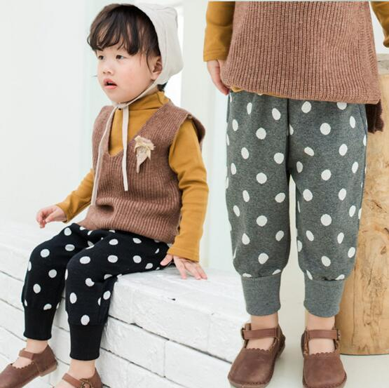 2 color INS New baby Girl spring Polka Dots printed pants elegant girl kids pants free shipping