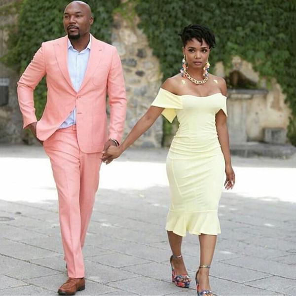 Pearl Pink Casual Mens Suits Groom Wear Wedding Tuxedos Slim Fit Bridegroom Suits Best Man Blazer Costume Homme 2PcsJacket Pants