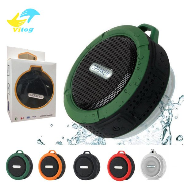best selling C6 Speaker wireless Bluetooth Speaker Potable Audio Player Waterproof Speaker Hook And Suction Cup Stereo Music Player With Retail Package