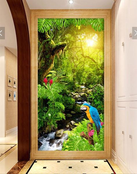 WDBH 3d papier peint personnalisé photo ruisseau et forêt paysages porche peinture salon décoration de la maison 3d mur muals papier peint pour murs 3 d