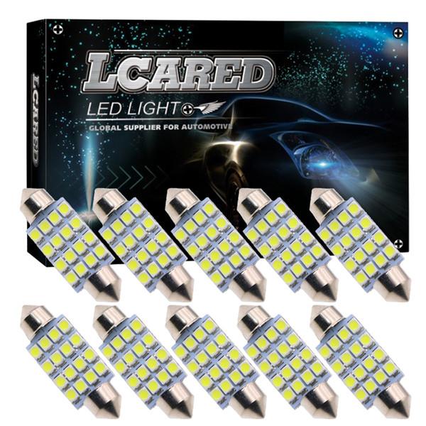 CQD-Light 10pcs Super Bright 31mm 36mm 39mm 42mm 16 SMD 3528 Car Interior Dome Festoon LED Lampadine Lampada Bianco 12V