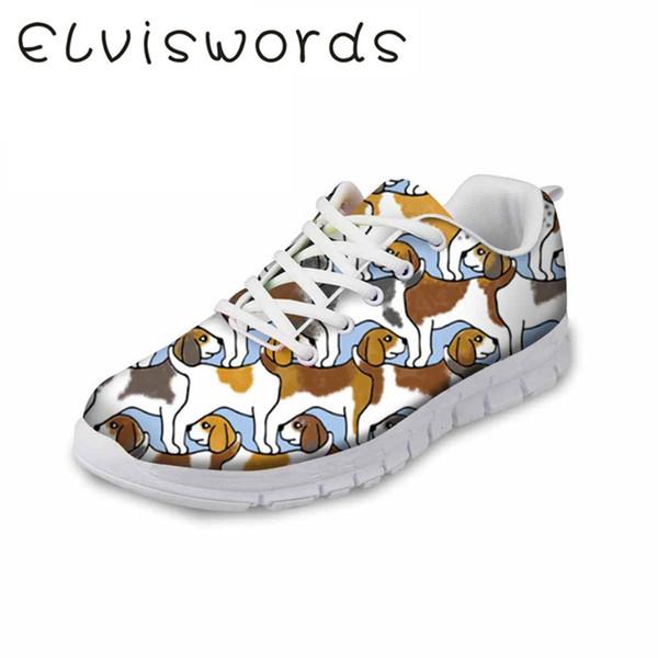 Kadın Ayakkabıları Yeni Günlük Ayakkabılar Evcil Köpek Baskılı Sevimli Küçük Taze Spor Ayakkabıları Hafif Dantel-up Kadın Düz Yumuşak