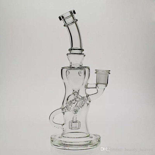 10 Inch Tall FTK Glass Torus Bong Klein Oil Rig Recycler Perc Smoking Water Pipe joint size 14.4mm