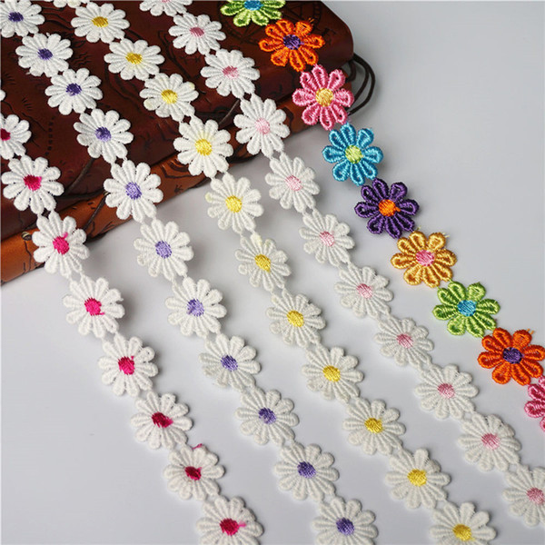 2 Yards 2.5CM Embroidered Daisy Trims Cute Flower Yellow Rainbow Lace Trimmings Sew On Patch Wedding Appliques For Bride Evening Dress DIY
