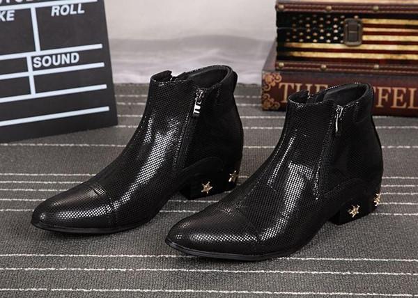 NOUVEAU 2019 bottines d'homme italien de style italien à bout pointu de fermeture à glissière simple Elegent Men Boots Stars Decoration, EU38-46!