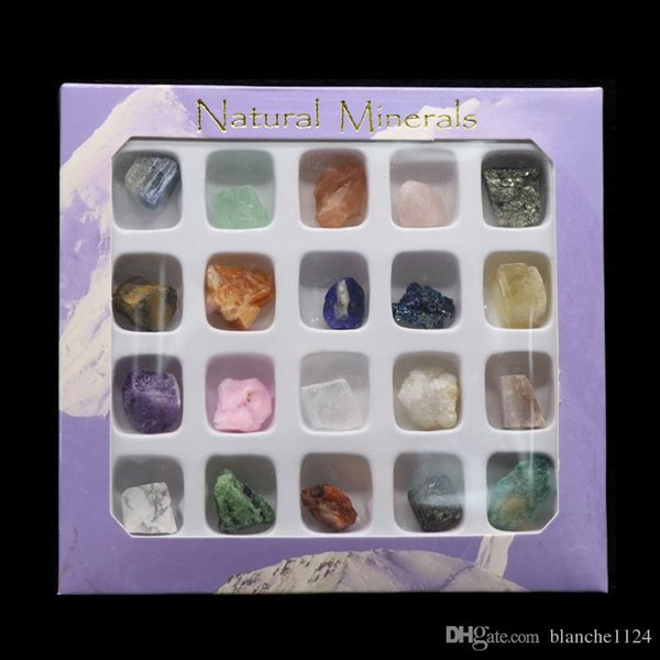 20 Types Natural Rock Mineral Specimens Collection Irregular Crystal Agate Quartz Canary Lapis Amethyst Fluorite Stone Wholesale