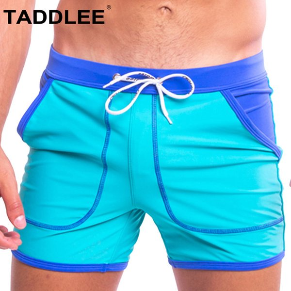 Taddlee Brand Sexy Men Swimwear Swimsuits Swim Boxer Trunks Board Surfing Briefs Gay Quick Drying Solid Color with Pocket Shorts
