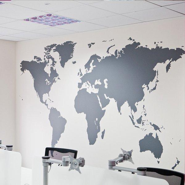 Großhandel Schwarz Große Weltkarte Wandaufkleber Abnehmbare Doppelseitige Muster Haus Dekoration Haus Tapete kostenloser versand