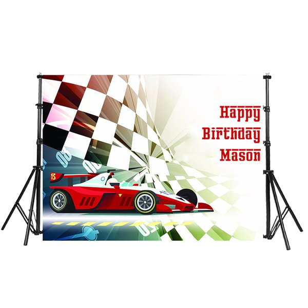 Vinyl Photocall Cartoon Race Car flag Children Birthday Party Custom Photo Backdrop Studio Background Party Banner