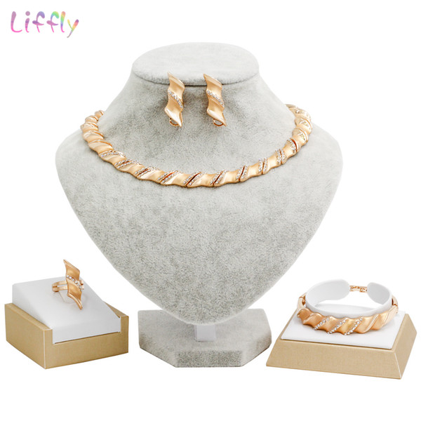 Liffly Bridal Jewelry Sets for Women Beads Jewelry Making Necklace Earings Fashion Wedding Dubai Gold Accessories