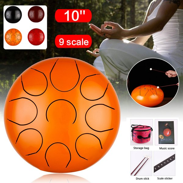"""best selling HandPan 10"""" 9 Scale Steel Drums Set Percussion Tongue drum with Free Bag + Mallets for Children Music Instrument"""