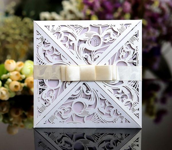 New 2019 Wedding Invitation Cards Lace Hollow White Elegant Invitations Pocket Square Laser Cut Invitations Cards