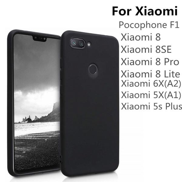 Schwarzer matte tpu telefonkasten für xiaomi mi mi 8 lite 8se pocophone f1 6x5x a1 a1 ultradünne weiche silikon schutzhülle