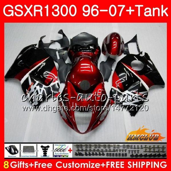 Corpo Para SUZUKI Hayabusa GSXR 1300 GSXR1300 96 02 03 04 05 06 07 preto vermelho escuro 24HC.7 GSX R1300 1996 2002 2003 2004 2005 2006 2007 Carenagem