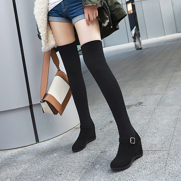 Rimocy 2019 Black Knitted Thigh High Boots for Women Autumn Winter Over The Knee Boots Slip on Hidden Heel Round Toe Shoes Woman