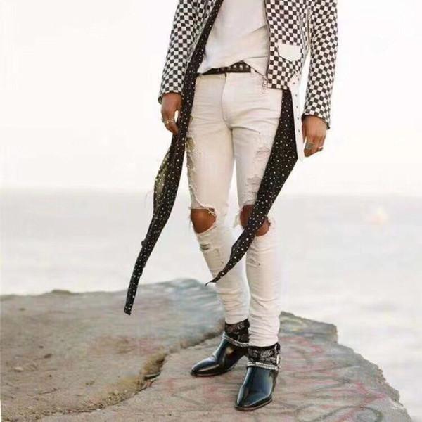 19ss AM1R1 JEANS Loch Zerrissene Denim Splash Ink Jeans Mode Männer Casual Hosen Enge Loch Top Qualität Jeans HFTTKZ040
