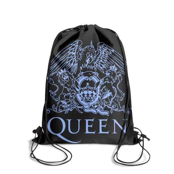 Drawstring Sports Backpack Queen Band Logo blue fashion durable pull string Travel Fabric Backpack