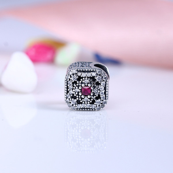 Authentic 925 Silver Beads Fairytale Treasure Charms, Cerise Crystal & Clear CZ Fits European Style Jewelry Bracelets