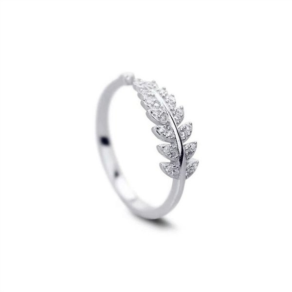 S925 sterling silver zircon leaf design ring high quality simple ladies ring adjustable opening jewelry gift 6-JZ2047