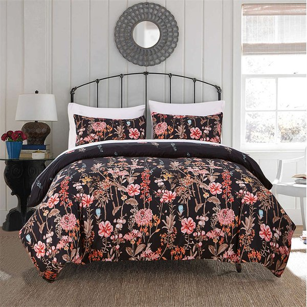 BEST.WENSD Bedding Set 100% Microfiber Twin Full Quee king Bed Set 2-3pcs/ sets black Comforter Bedding Sets flower duvet cover