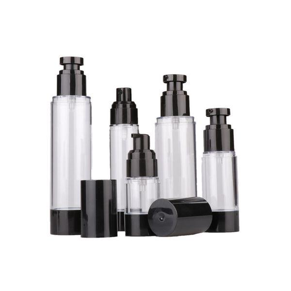 15ml 30ml 50ml Leer Schwarz Airless Lotion Creme Pumpe Plastikbehälter Vaccum Spray Kosmetische Flasche Dispenser für Reisen Doubtless Bay