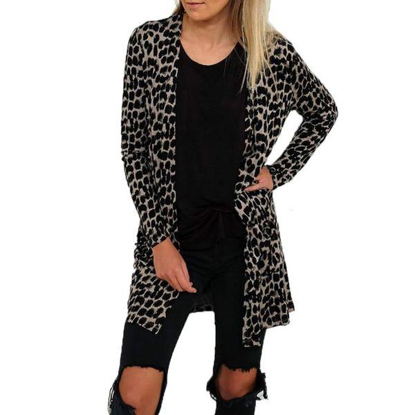 Women/'s Ladies Loose Long Sleeve Cardigan Leopard Kimono Tops Blouse Coat Jacket