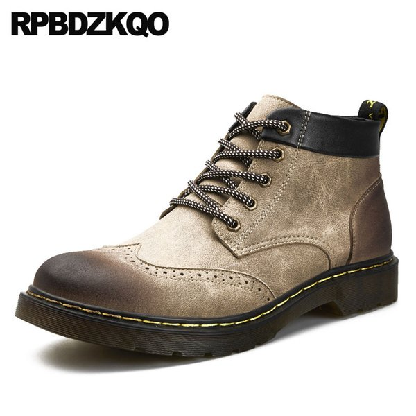 men military lace up retro combat boots short ankle outdoor 2018 wingtip shoes brogue fall british style vintage designer army