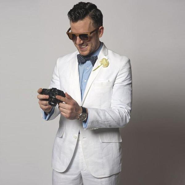 New White Linen Wedding Men Suits Slim Fit Tuxeods Groom Wear 2 Pieces (Jacket+Pants) Bridegroom Blazer Costume Homme Best Man 32