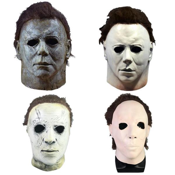 Halloween de Michael Myers Máscara de máscaras del partido Nueva Película de terror de la cara del traje cosplay para adultos completo de látex de Halloween Props Casco Máscara asustadiza HH9-2438
