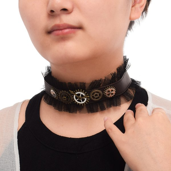 1pc Vintage Girls Steampunk Gear PU Choker Necklace Gothic Punk Lace Lady Neckwear