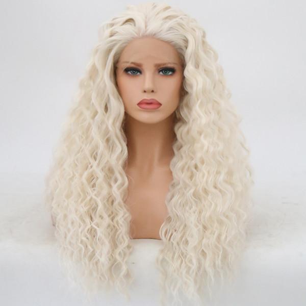 Bombshell White Water Wave Atado a mano Peluca delantera del cordón sintético Fibra resistente al calor Libre de despedida de cabello Rayita natural para mujeres Y190717