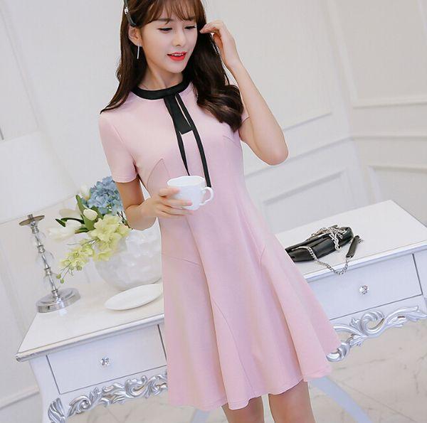 Korean cute slim show thin short sleeve dress summer dress women clothing patchwork bodycon dress fashion yellow pink Vestidos