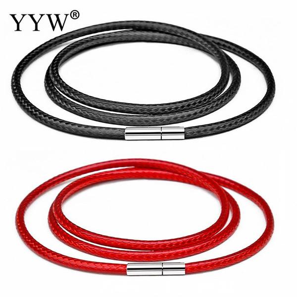 41-70cm 1-3mm Cordón de cuero negro Collar de cordón Cuerda de cera Cadena de encaje con corchete rotatorio de acero inoxidable para DIY collares joyería