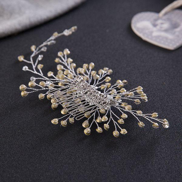 Charm Rhinestone Hair Comb Floral Head Piece Pearl Wedding Hair Comb Clip Crystal Bridal Hairpin Jewelry Hair Accessory