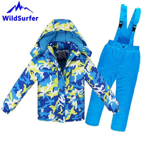 WildSurfer Kids Winter Camo Skiing Sets Windproof Keep Warm Boys And Girls Snowboard Ski Jacket Pants Children Snow Suits W304