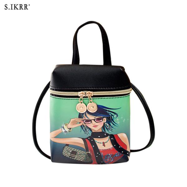 S.IKRR Fashion PU Leather Mini Women Mobile Phone Bags Crossbody Cute Cartoon Bear Handbag Female Multi-function Shoulder
