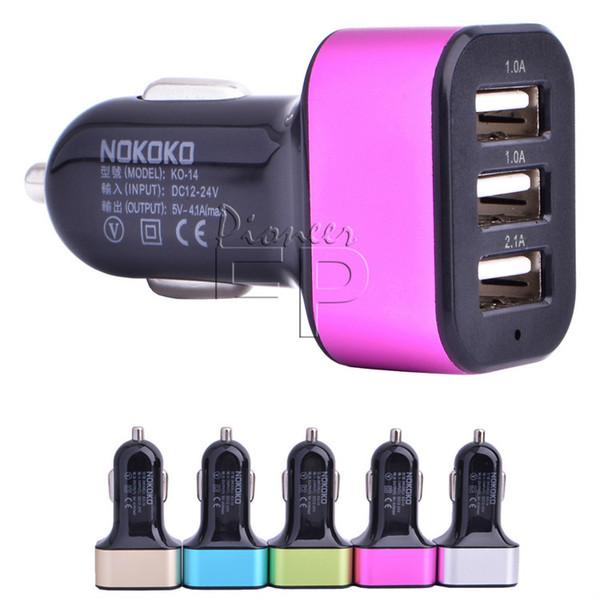 Araç Şarj Cihazı, Apple iPhone 6/6 + / 6s / 6s +, Ipad Mini 2/3/4 için 3 portlu Evrensel Hızlı Taşınabilir 4.1A USB Şarj Adaptörü Sigara Şarj
