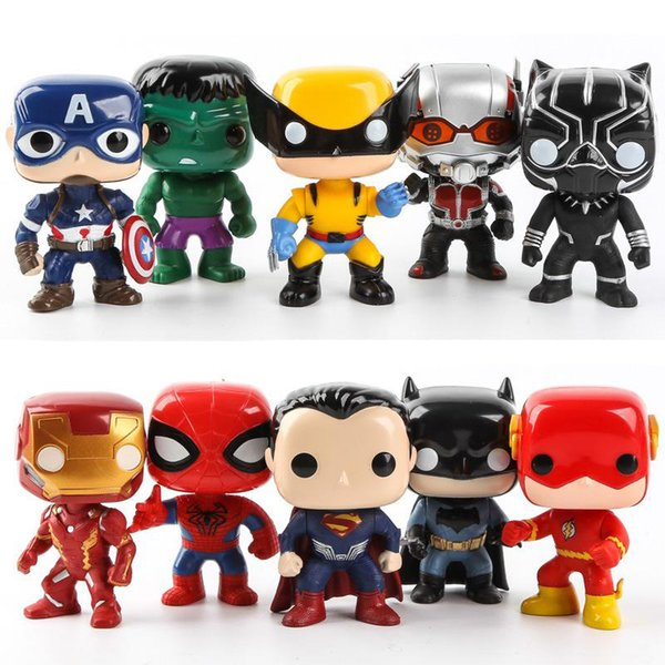 10 piezas de juego completo Q tablero Funko POP Marvel Superhéroe Justicia figuras de acción Liga Marvel Avengers Superhéroe Personajes Modelo Vinilo Acción
