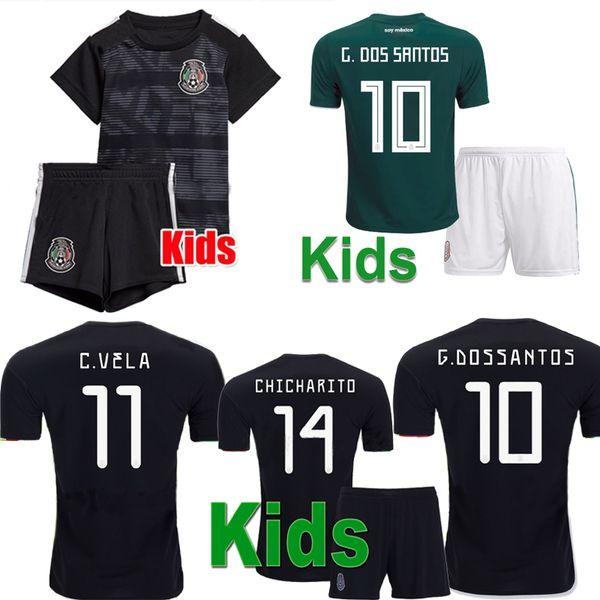 New Mexico Kids Gold Cup Home Nero Youth Boys CHICHARITO Pullover di calcio Camisetas de futbol H.LOZANO DOS SANTOS VELA RAUL Shirts 2019